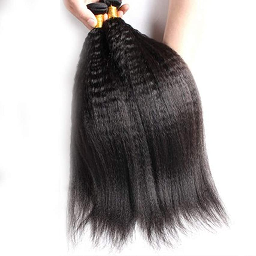 狂信者最悪本体BOBIDYEE ブラジルのリアルかつら髪を編む変態ストレートシームレスパッチ髪天然毛ブロック合成髪レースかつらロールプレイングかつら (色 : Natural Color, サイズ : 10inch)