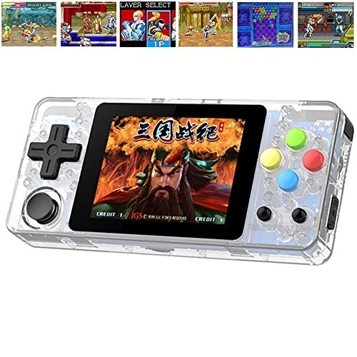 TAPDRA Handheld Video Game Console Rechargeable with 10000+ Built-in Games, 32+32GB Fast Card Open Source Linux, Support Add and Delete Games (Transparent)