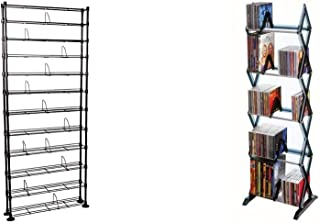 Atlantic Maxsteel 12 Tier Shelving - Heavy Gauge Steel Wire Shelving for 864 CD/450 DVD/Blu-Ray/Games in Gunmetal & Mitsu 5-Tier Media Rack - 130 CD or 90 DVD/BluRay/Games in Clear Smoke Finish