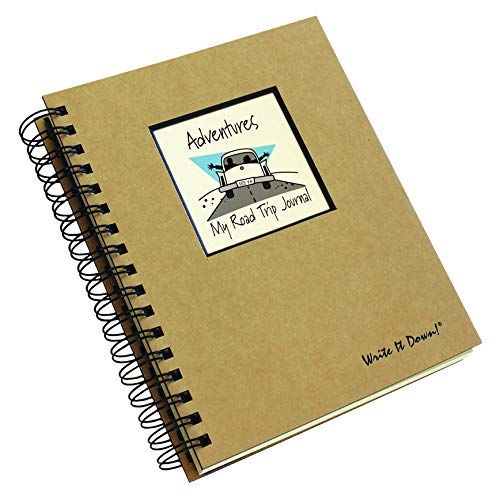 "Journals Unlimited ""Write it Down!"" Series Guided Journal, Adventure, My Road Trip Journal, with a Kraft Hard Cover, Made of Recycled Materials, 7.5""x 9"""