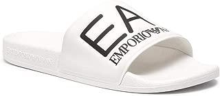 EA7 Men's Logo Sliders, White