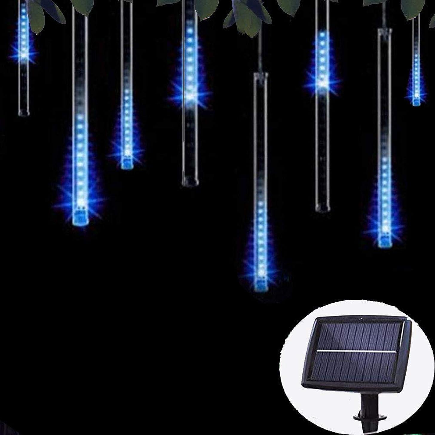 Solar Lights Tree Outdoor 10 Tubes Waterproof Meteor Shower Rain Lights Falling Rain Drop Christmas Light Cascading String Lights for Holiday Party Wedding Xmas Decoration (Blue)