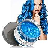 Cire Couleur Cheveux, Cire de Modelage de Cheveux Cire Coloration Temporaire Cheveux, Style de Cheveux Mat Naturel Pour Hommes et Femmes, Teinture Capillaire Lavable Wax … (bleu)