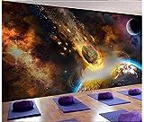 Apoart 3D Papel Pintado Gran Universo Tierra Cometa Meteorito Pared450X300Cm(177.16By118.11In)