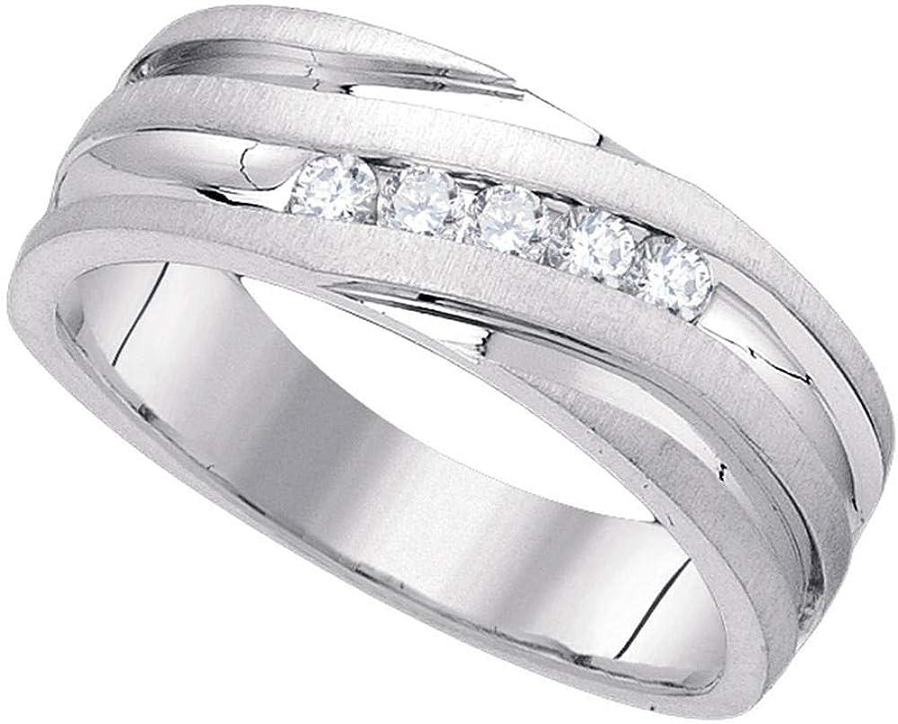 Dazzlingrock Collection 10kt White Gold Mens Round Diamond Wedding Band Ring 1/4 ctw