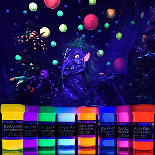Neon Nights Glow In The Dark Paint Set for UV & Blacklight - Acrylic Neon Reflective Paint for DIY Craft - Set of 8 Bright Colors - 0.7 fl oz (20ml)