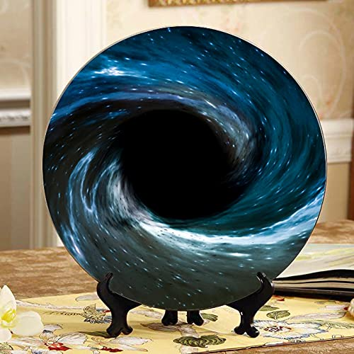 Mysterious Black Hole Decorar Platos Platos de Fiesta Decoración Hogar Wobble-Plate con soporte de exhibición Decoración Hogar Niños Platos de cerámica