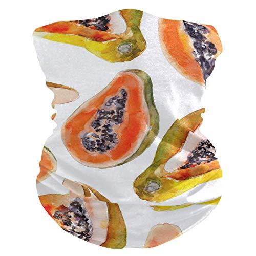 qulia Frucht Papaya Gesichtsmaske Bandana Waschbares Stirnband für Staub Sport Magic Schal Hals Gamasche Männer Frauen
