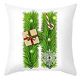 RK-HYTQWR Funda de Almohada de Navidad 26 Letras Verdes Funda de cojín de Fiesta con Estampado de Alfabeto, 8 Funda de Almohada con Letras Verdes de Navidad, 8