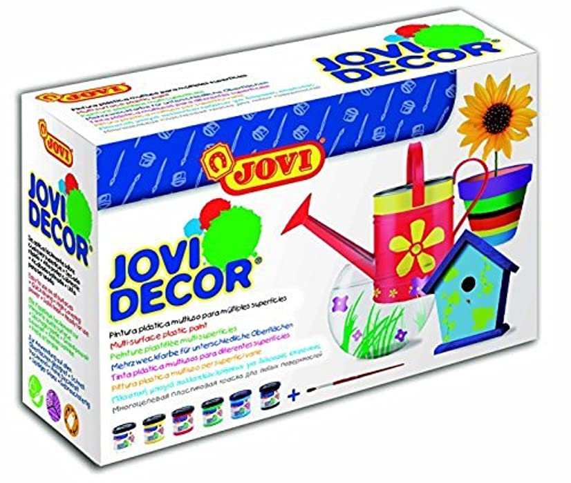Jovi Decor Craft Satin Finish Latex Paint; 1.8 oz. Jars, Set of 6 Core Colors, perfect for Arts and Crafts Projects
