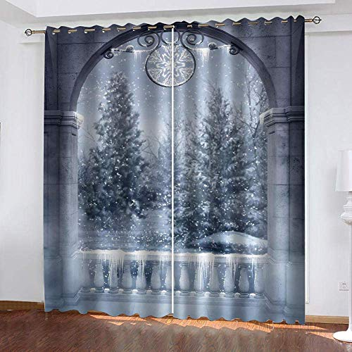 meilishop Blackout Curtainswinter Snow Scene 100% Polyester Thermal Insulated Curtain Bedroom Blackout Curtains 265(H) x200(W) Cmx2 Panels/set
