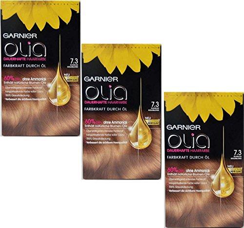 3 x Garnier Olia couleur des cheveux 7.3 Blond Doré Foncé, huiles de fleurs contient 60% – Sans Ammoniaque