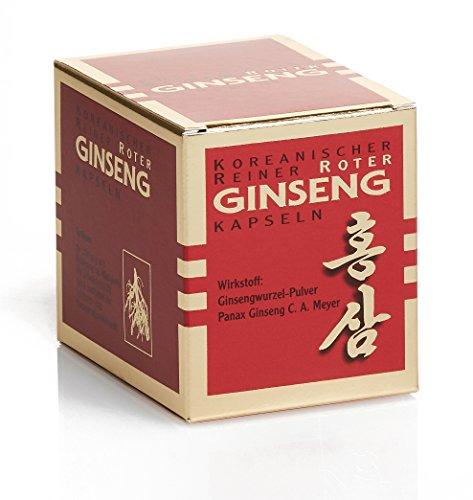 Koreanischer Reiner Roter Ginseng - 100 Wurzelpulver Kapseln; freiverkäufliches Arzneimittel