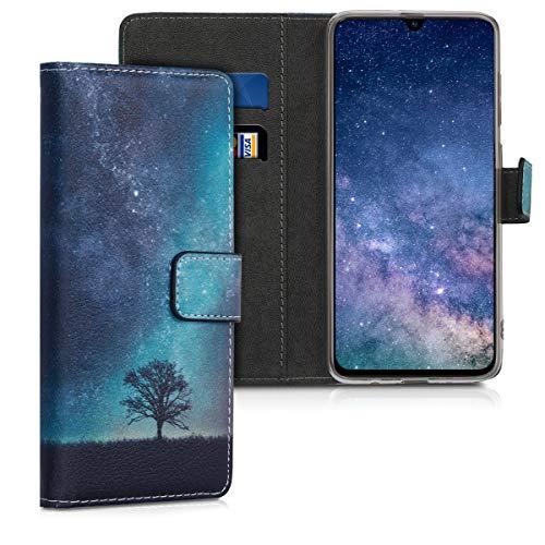 kwmobile Wallet Hülle kompatibel mit Samsung Galaxy A70 - Hülle Kunstleder mit Kartenfächern Stand Galaxie Baum Wiese Blau Grau Schwarz