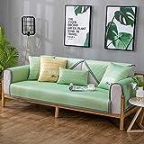 Hybad Fundas de Sofa 3 plazas,Cool Ice Silk Sofa slipcover Couch Cover,Summer 2/3/4 Seater Leather Sofa Throw,Fabric Sofa Sets,Corner Sofa Cover,Summer Mat-Tender_Green_90*160cm