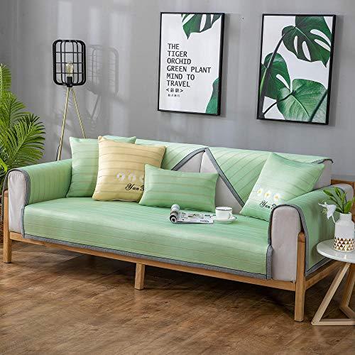 YUTJK Furniture Protector Cover,Fundas de sofá de Seda de Hielo Fresco,Funda de Cuero de Verano para sofá,Juegos de sofás de Cuero,Fundas de sofá de 2/3/4 plazas: Tender_Green_110 * 160cm