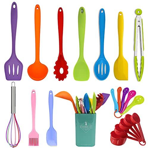 Wookon - Juego de utensilios de cocina de silicona, 21 piezas, juego de utensilios de cocina con cucharas medidoras y tazas, goma resistente al calor, núcleo de acero inoxidable, seguro para platos, sin BPA