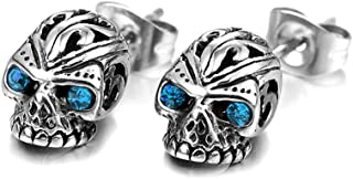Fusamk Hip Hop Titanium Steel Flower Pattern Crystal Eye Skull Stud Earrings