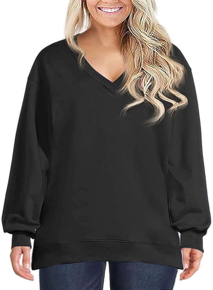 Women's Plus Size Sweatshirts Long Balloon Sleeve V Neck Pullover Shirts Tops