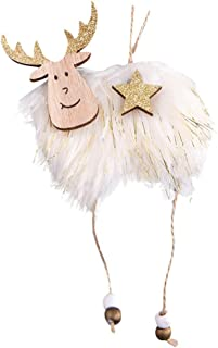 Kiar Christmas Elk Pendant DIY Wooden Painted Hanging Ornament Xmas Party Decoration Tree Before Nightmare White who DVD for Doctor Stole Outfit Carol Vacation Bag Bad July