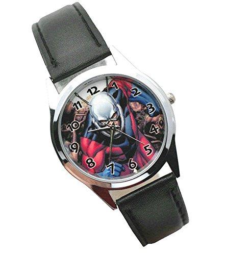 ANT-Man Montre analogique à quartz avec bracelet en cuir de vachette véritable – Pile de rechange offerte