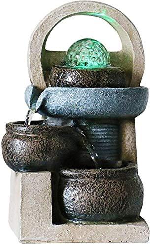 Home Art Decor Crafts Inicio Oficina Decoración de Escritorio 3-Capa Flujo Agua Desktop Fountain Inicio Oficina Feng Shui Decoración Simulación Potación Pot Jardín Terraza Decorativa Fuente Fuente Mes