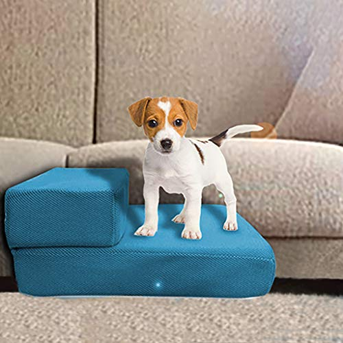 Little Story Pet Stairs, 2 Step for Cats/Dogs Portable, Removable Washable Carpet Tread Folding Pet Stairs for Dogs and Cats