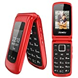Uleway Teléfono Móvil para Personas Mayores, Teléfono Móvil con Teclas Grandes Doble Pantalla de 2,4 y 1,77 Pulgadas, Móvil con Tapa Botón de Emergencia SOS Doble SIM Radio FM Linterna - Rojo