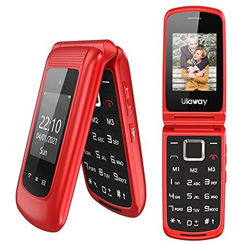 """Uleway Téléphone Portable Senior Débloqué, Téléphone Portable à Clapet pour Personnes âgées avec Grandes Touches Haute Volume Fonction SOS Double Écran (2,4"""" et 1,77"""") - Rouge"""