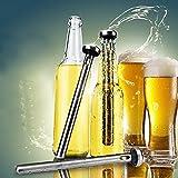 Sunway - Enfriador de botellas de cerveza de acero inoxidable con abridor de botellas, varilla de enfriador de botellas de cerveza reutilizable, para mantener las bebidas en botella frías