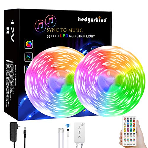 LED Strip Lights Music, Hedynshine 33feet 300pcs Superbright SMD 5050 RGB Strip Lights with 40Key Remote,Sync to Music Led Strip Lights for Bedroom