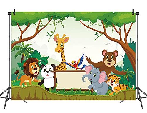 RUINI - Fondo de poliéster con dibujos animados de fauna para niños y niñas, diseño de animales, para fiestas de cumpleaños o tartas, decoración de fondo para estudio fotográfico (5 x 3 pies)