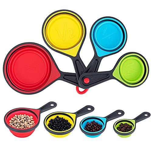 Bligo Messbecher Set mit Silikongriff, faltbares Silikon Messtassen für Küche Kochen Backen(4-teiliges)