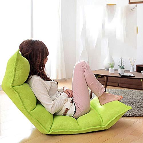 JIAHENGY Floor cushion Caterpillar lazy sofa tatami single sofa chair folding small sofa back chair bay window chair-green