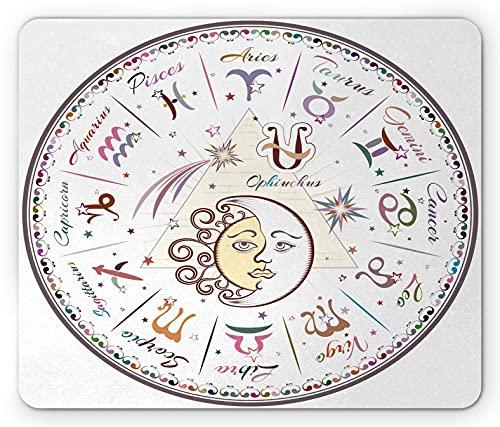 Zodiac Mauspad, Westernkarte mit allen Zeichen Widder Jungfrau Leo Stier Waage Mystik Schicksal Kalender, Rechteck rutschfest Gummi Mauspad, Standardgröße, Pastellrosa