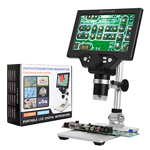HD 7 INCH 1200X Angle-Adjustable Digital Microscope with 8 Adjustable Highlight LED Lights Micro SD Storage for Mobile Phone Camera Repair