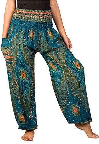 LOFBAZ Harem Pants for Women Yoga Boho Hippie Clothing Bohemian Palazzo Beach Maternity Pajama Gypsy Indian Travel Clothes Floral 1 Teal Green M
