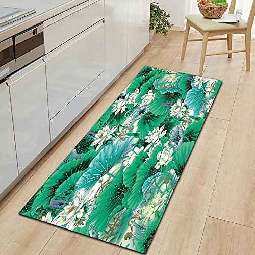 OPLJ Alfombras de Puerta Lavables Antideslizantes de la Serie Flower Alfombras de Puerta de Entrada Alfombras de decoración del hogar de Cocina y Sala de Estar A15 40x120cm