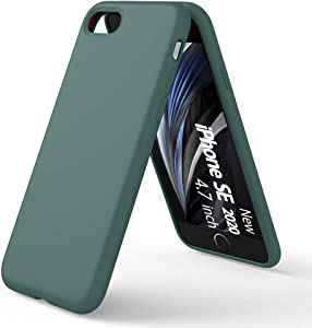 ORNARTO Liquid Silicone Case Compatible with iPhone SE(2020), iPhone 7/8 Slim Liquid Silicone Full Covered Soft Gel Rubber Case Cover for iPhone7/8/ SE(2020) 4.7 inch-Pine Green