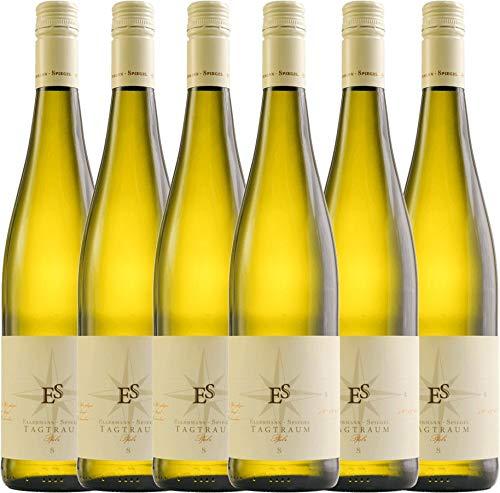 VINELLO 6er Weinpaket Weißwein - Tagtraum 2020 - Ellermann-Spiegel mit Weinausgießer | halbtrockener Weißwein | deutscher Sommerwein aus der Pfalz | 6 x 0,75 Liter