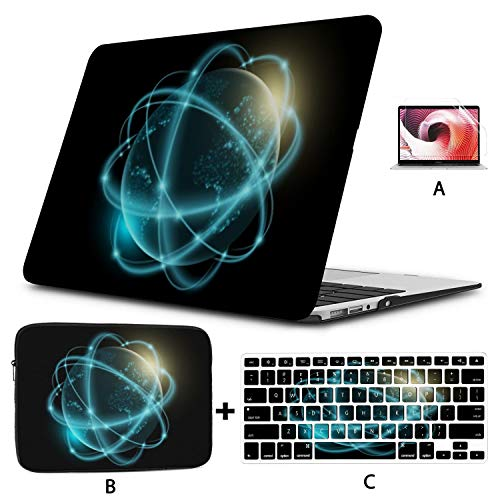 MacBook Air 13 Inch Case 2020 2019 2018, Futuristic Planet Earth Glowing World Map Plastic Hard Shell,Sleeve Bag,Keyboard Cover,Screen Protector Compatible with MacBook Pro 13 Inch USB-c