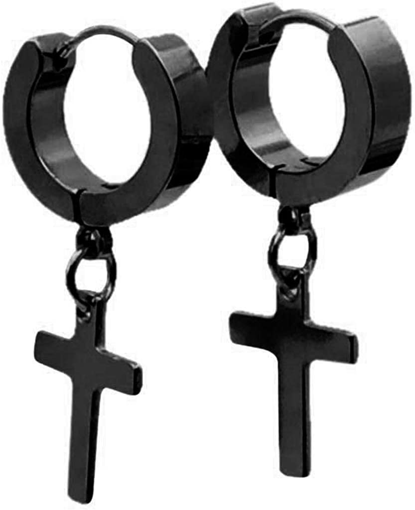 Stainless Steel Cross Earrings Studs Hoop Earrings Hinged Dangle Cross Earrings for Men and Women