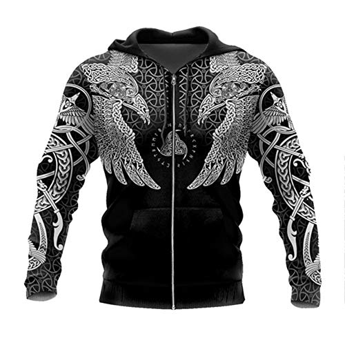 Viking 3D Tattoo Hoodies, Nordische Mythologie Adler Streetwear Casual Kapuzen Sweatshirt, All Over Print Unisex Langarm Pullover Sweatshirt,Zipper,4XL