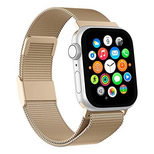 Mediatech Correa de repuesto compatible con Apple Watch, 44 mm, 42 mm, 40 mm, 38 mm, de acero inoxidable, con cierre magnético, compatible con iWatch Series 6/5/4/3/2/1 SE (42 mm/44 mm, dorado)
