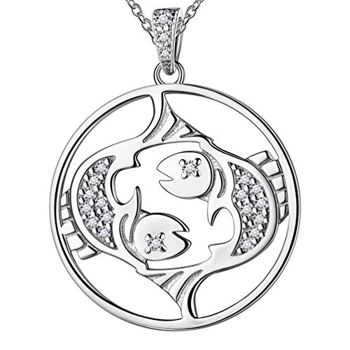 Sterling Silver Pisces Zodiac Sign Necklace for Men Women Unisex 12 Constellation Horoscope Pendant Necklace Astrology Birthday Jewellery for Boyfriend Husband FP0092Y