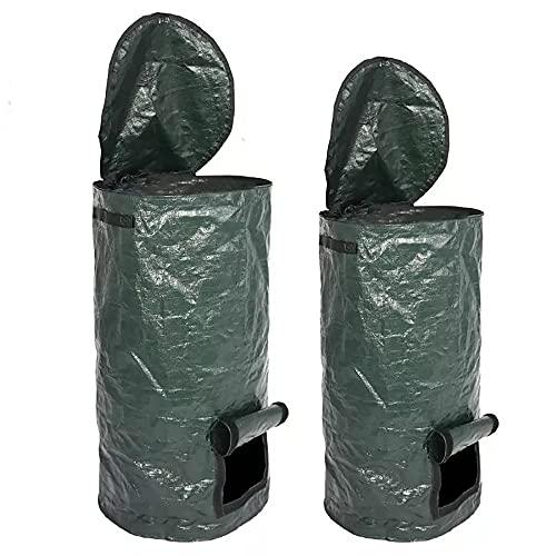 2 Packungen Bio-Kompostbeutel 15 und 34 Gallonen Gartenabfall Entsorgungsbehälter Umweltfreundlich Wiederverwendbar hausgemachte Bio-Ferment PE Kompostbeutel für Pflanzkübel Küche