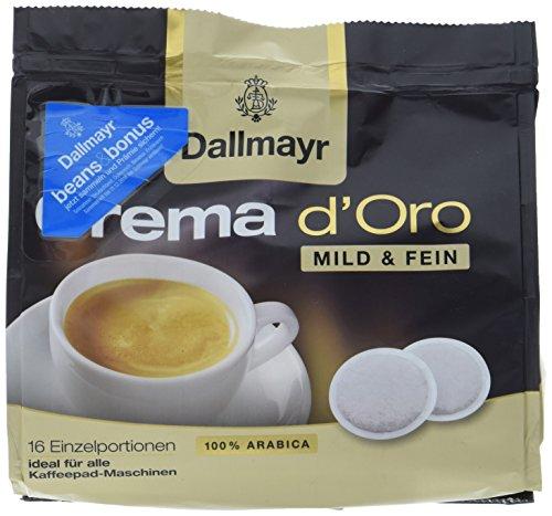 Dallmayr Crema d\'oro mild und fein Kaffeepads, 16 Stück, 112 g