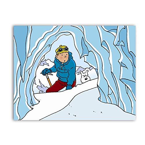 Die Abenteuer von Tim und Struppi Poster Cartoon Bild Charaktere Tim und Struppi Bild Leinwand Bild Kinderzimmer Wand Bilder Kinderzimmer Schlafzimmer Dekor 30x40cm Ungerahmt