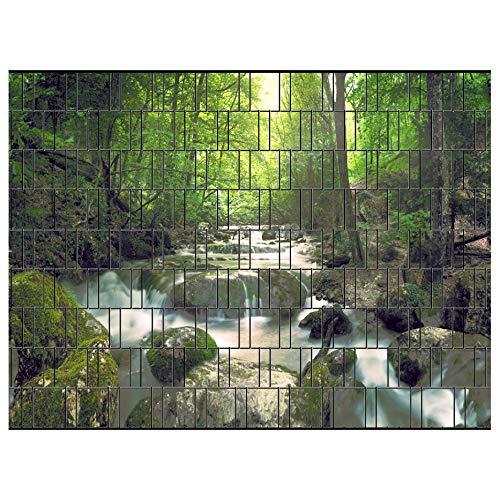 PerfectHD Zaunsichtschutz | 30 Motive | Sichtschutzstreifen für Doppelstabmattenzaun | Windschutz Sonnenschutz Blickdicht | 2,50m x 1,80m | 19cm | 9 Streifen | Wasserfall