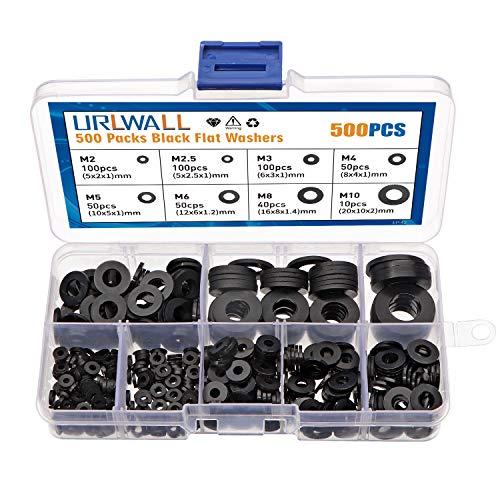 500PCS Black Nylon Washers Flat Washer Spacer Assortment Kit, M2, M2.5, M3, M4, M5, M6, M8, M10 Washers Metric Sealing Spacer Gasket Ring Washers Set